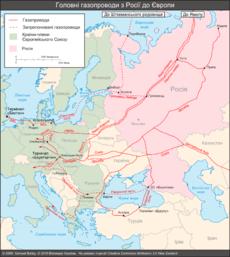 La rete dei gasdotti tra Russia ed Europa