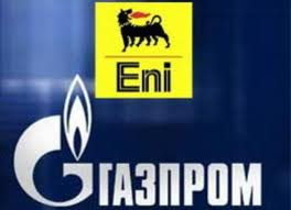 I loghi del monopolista russo, Gazprom, e del colosso energetico italiano, ENI