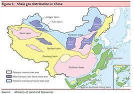 L'ubicazione dei giacimenti di gas shale in Cina