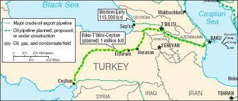 Il percorso del Gasdotto del Caucaso del Sud
