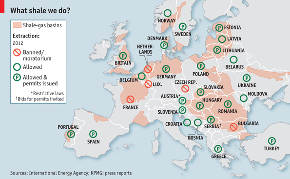 La presenza dello Shale in Europa e il parere espresso dai Governi UE. FONTE THE ECONOMIST